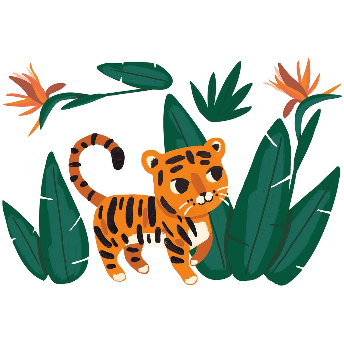 Stickers tigre, thème jungle en Vinyle mat Vert