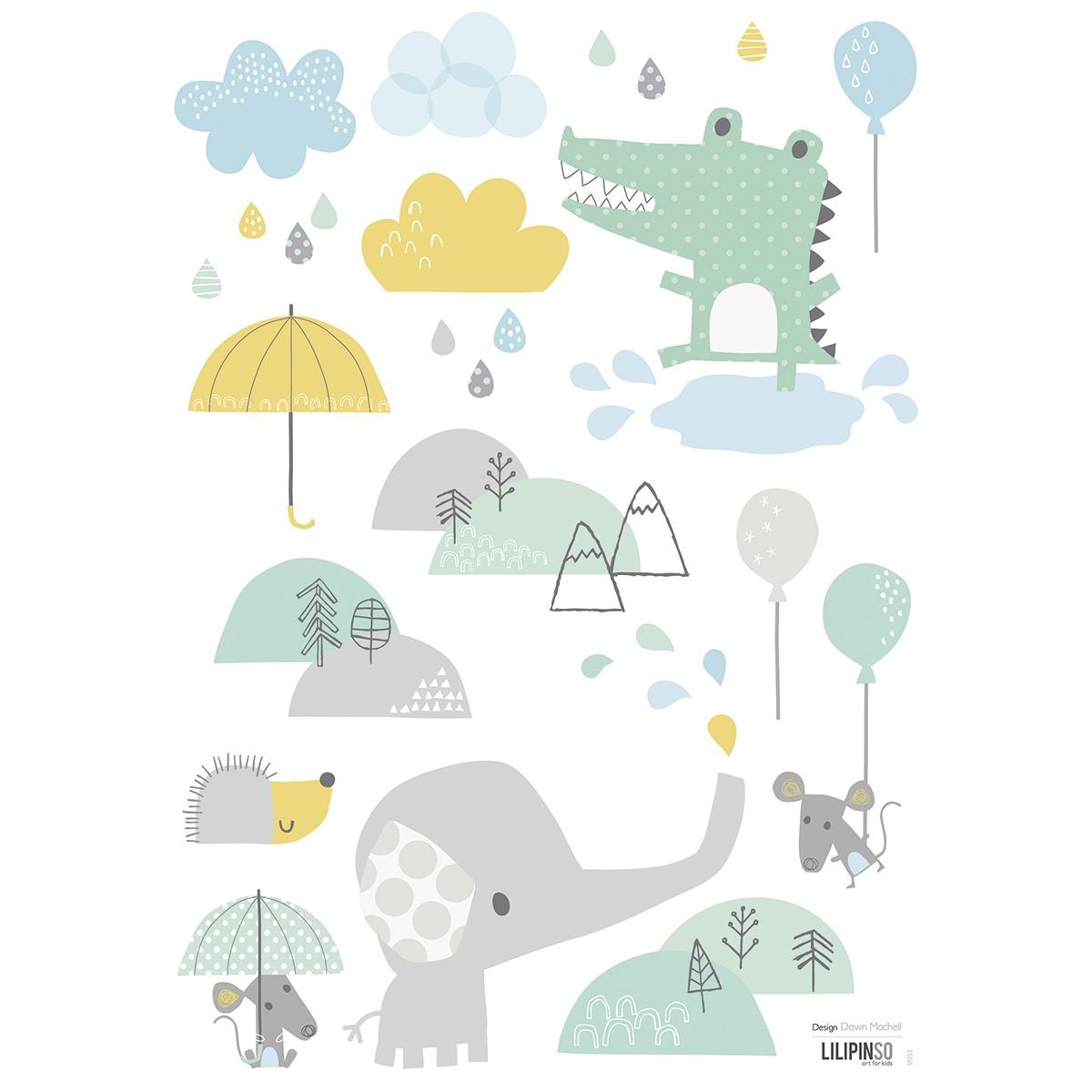 Stickers crocodile et éléphant en Vinyle mat Multicolore