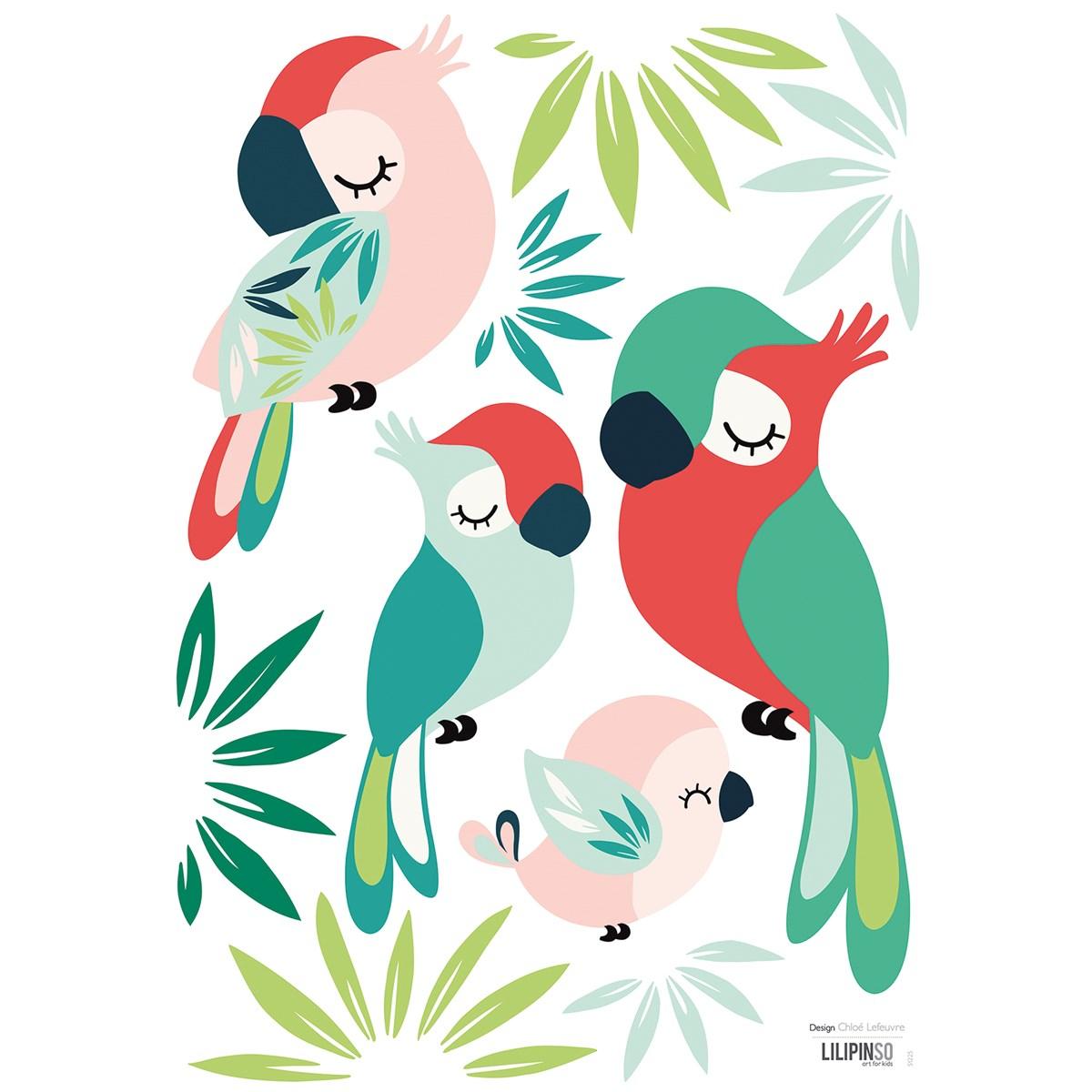 Stickers perroquets en Vinyle mat Vert