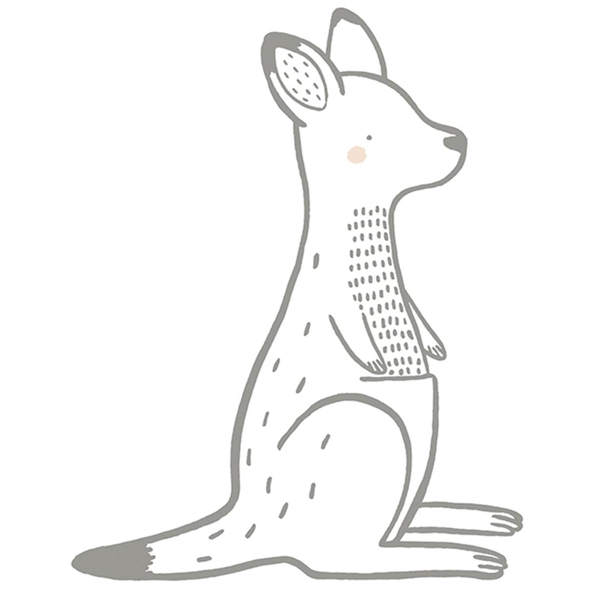 Sticker déco kangourou en Vinyle mat Gris