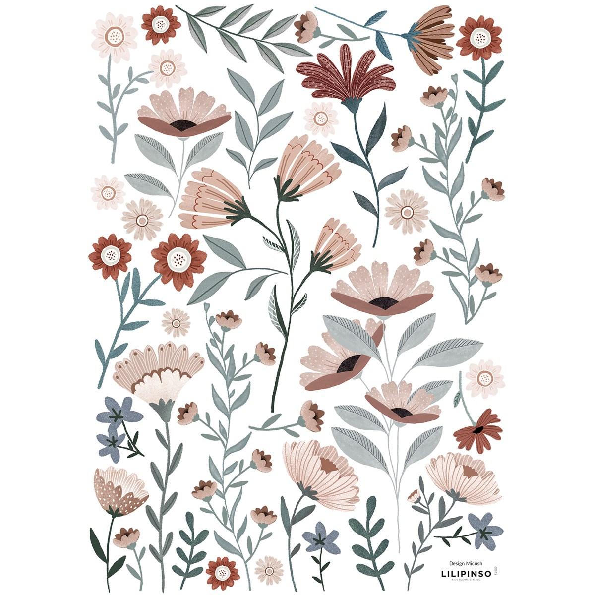 Stickers fleurs en Vinyle mat Bleu