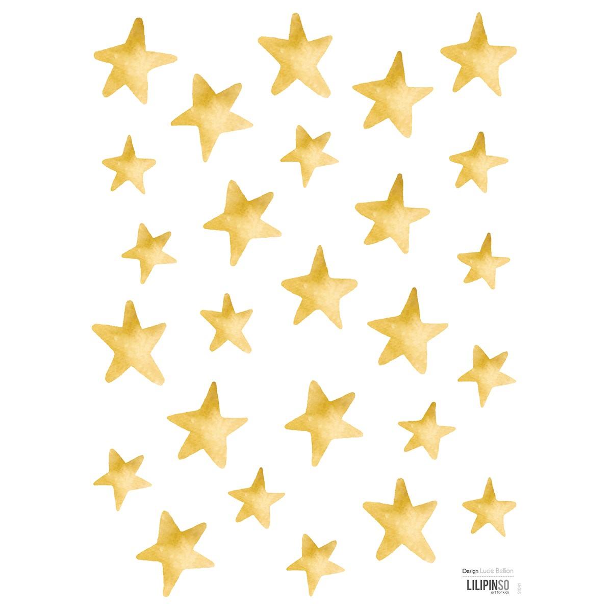 Stickers étoiles en Vinyle mat Or