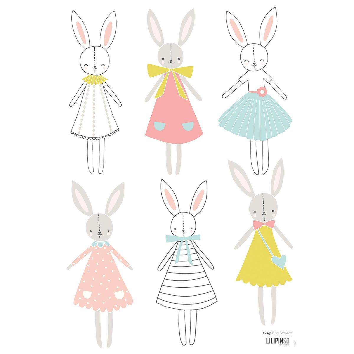 Sticker décoration lapins en Vinyle mat Multicolore