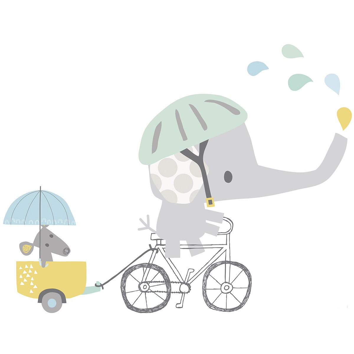 Sticker éléphant en Vinyle mat Gris