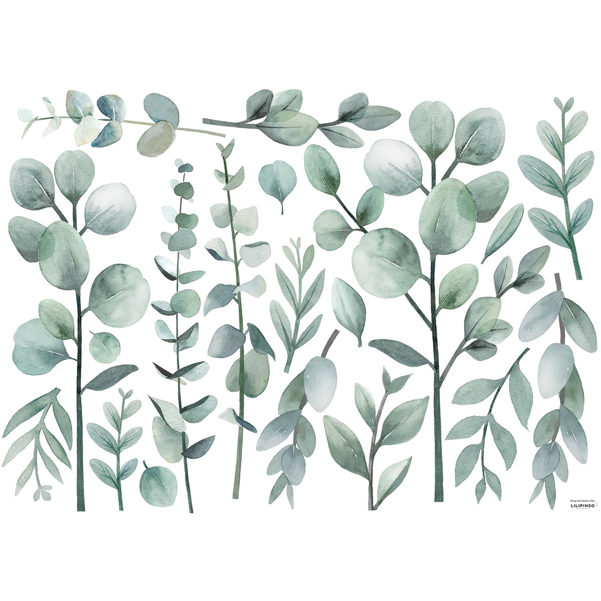 Stickers eucalyptus en Vinyle mat Vert