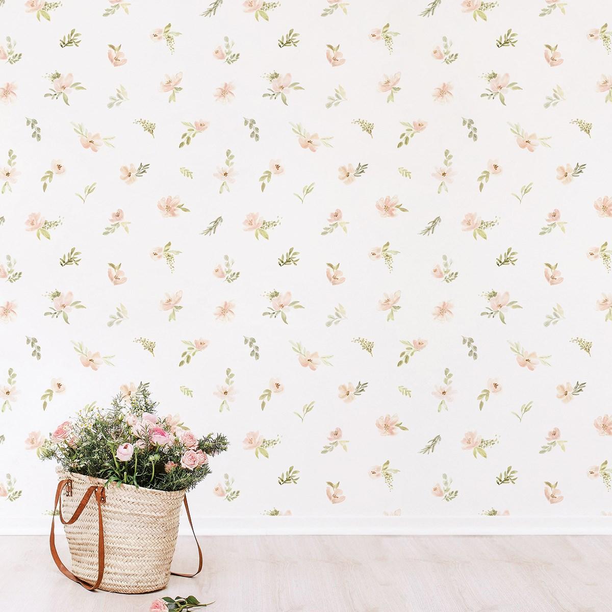Papier peint fleurs en Papier Rose pâle