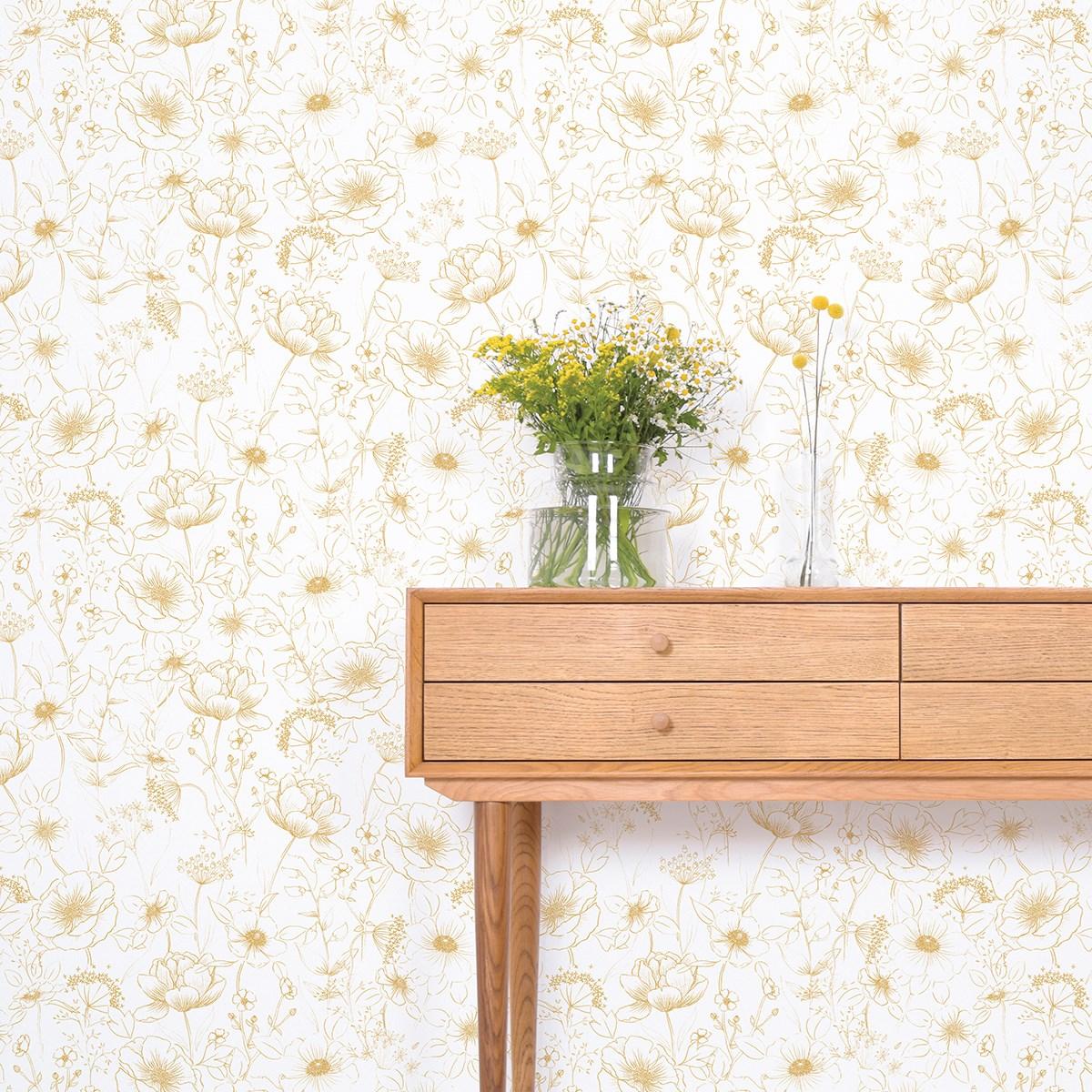 Papier peint bucolique fleurs en Papier Moutarde