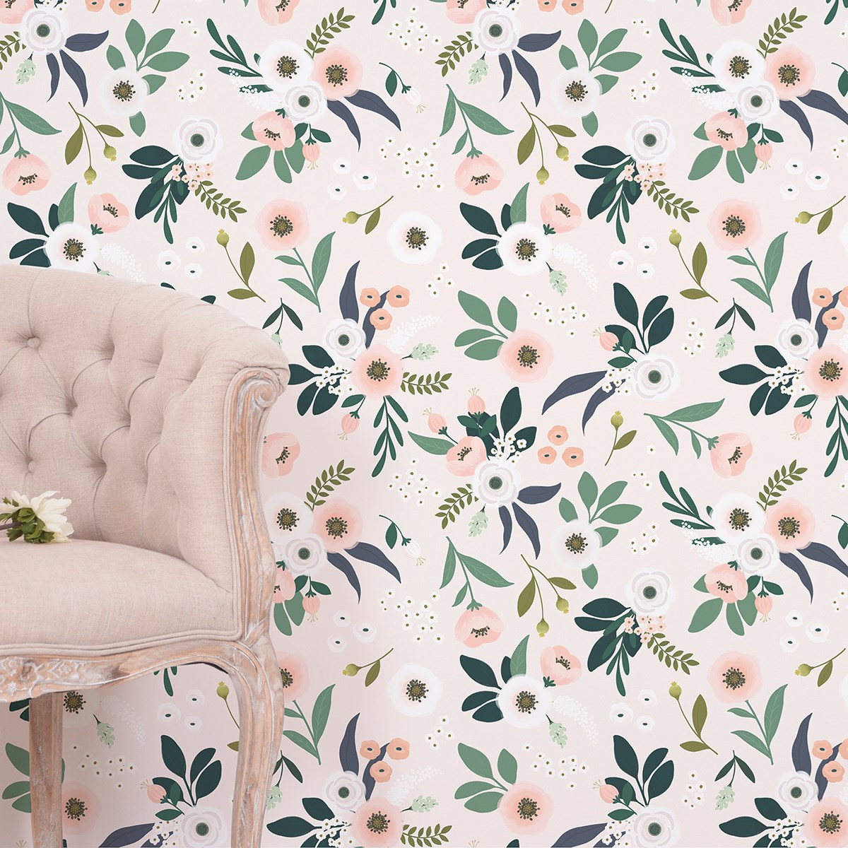 Papier peint floral en Papier Rose pâle