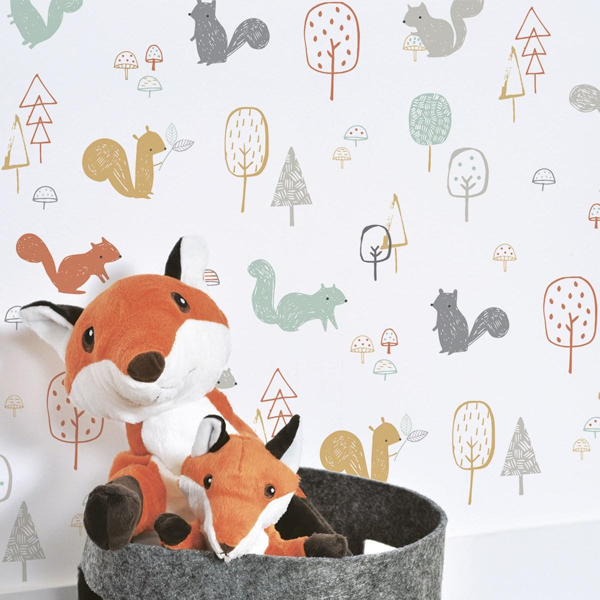 Papier peint forêt écureuils en Papier Multicolore