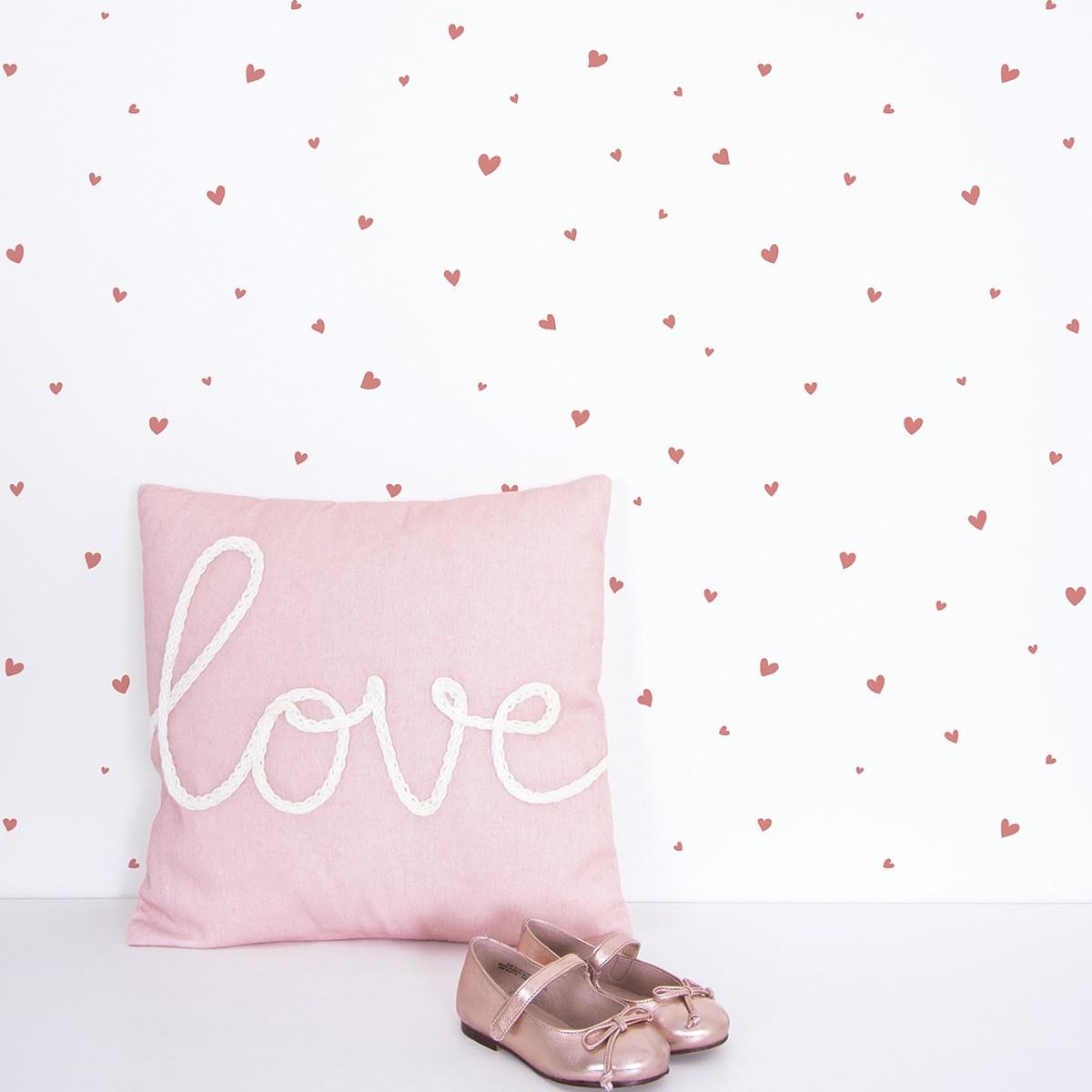 Papier peint coeurs en Papier Rose