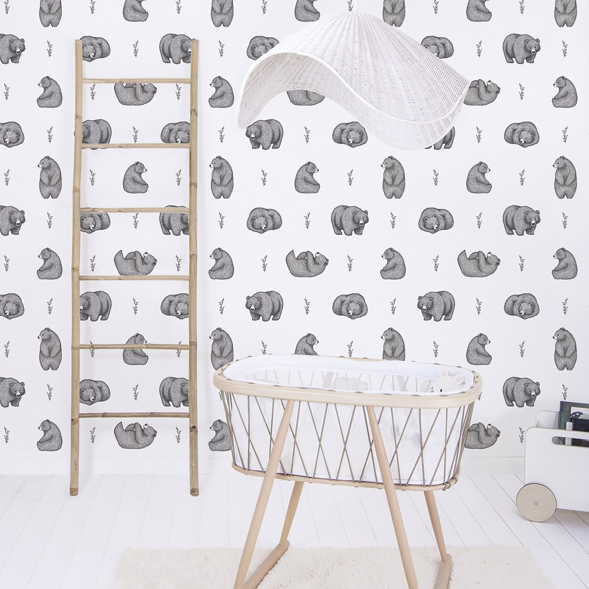 Papier peint ours en Papier Blanc