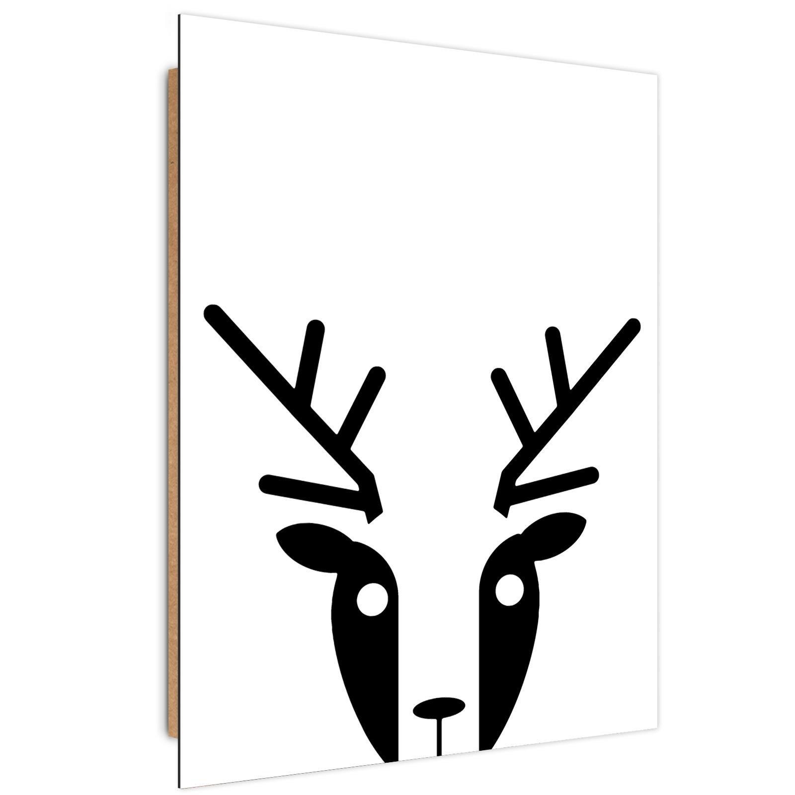 Tableau enfant bois contrast deer noir et blanc 60x90