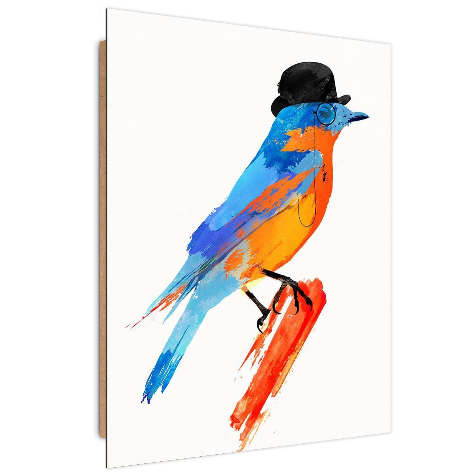 Tableau enfant bois bird in a bowler hat orange 70x100