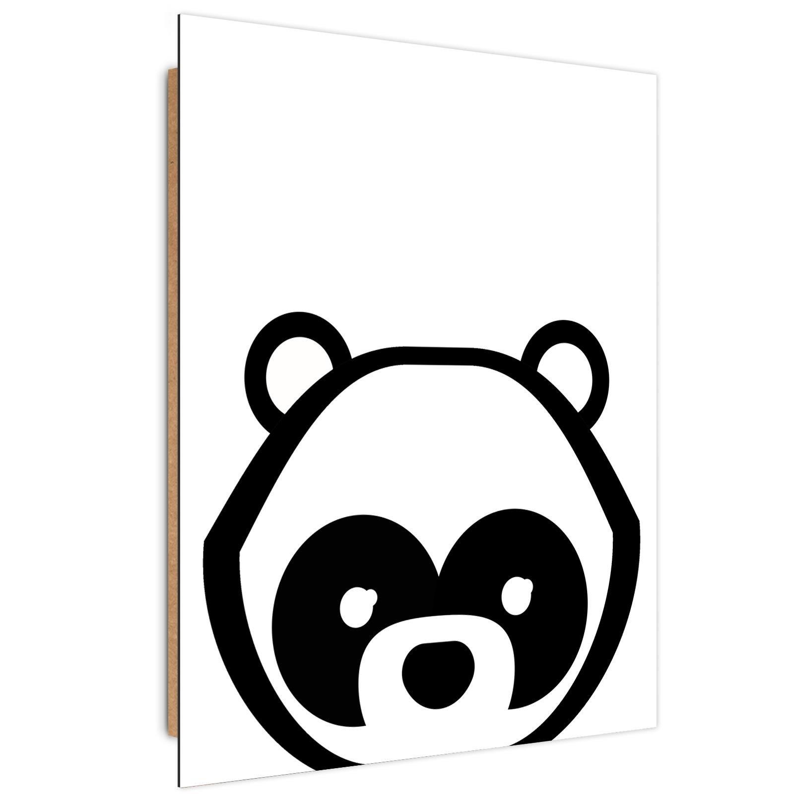 Tableau enfant bois contrast panda noir et blanc 80x120