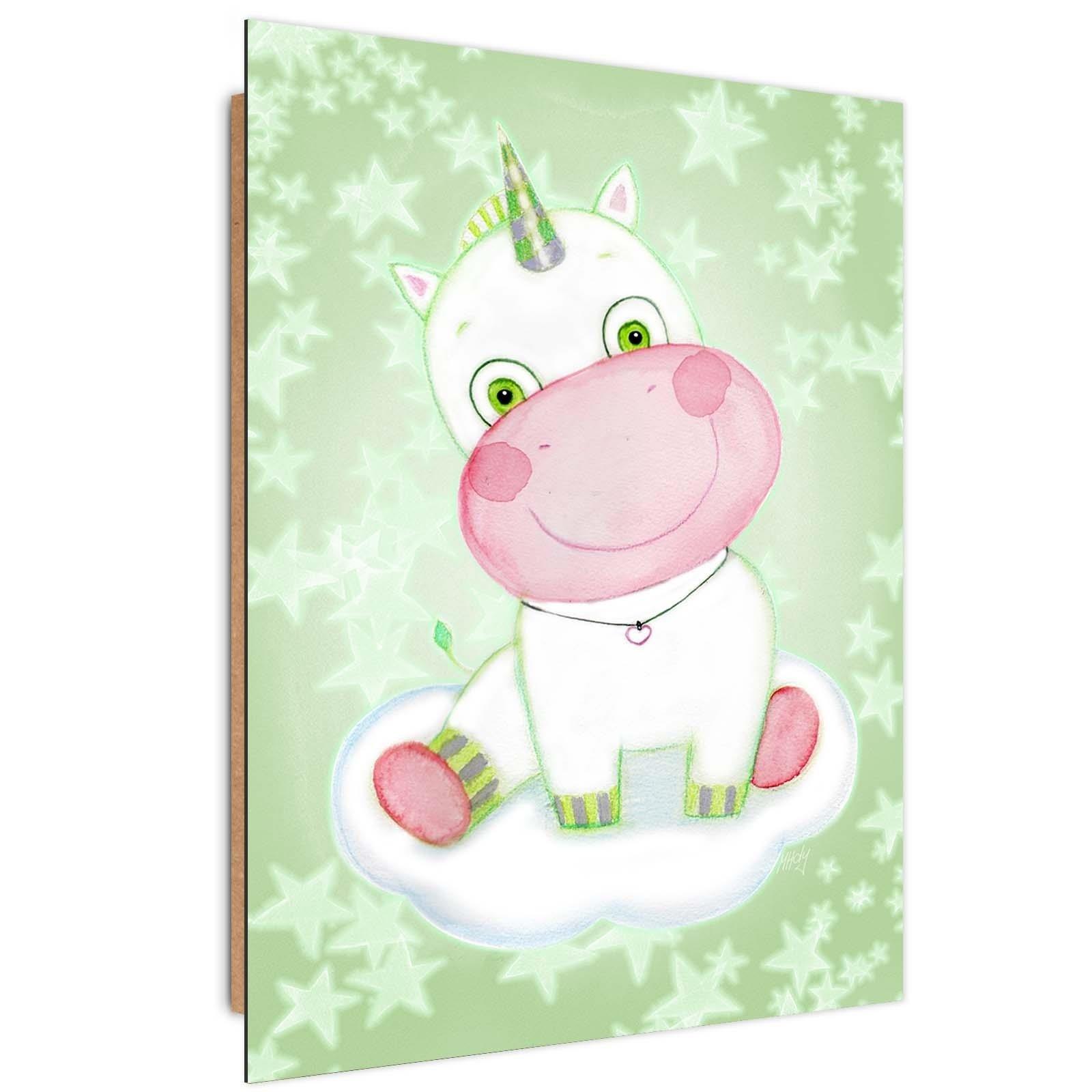 Tableau enfant bois enfants unicorn vert 50x70