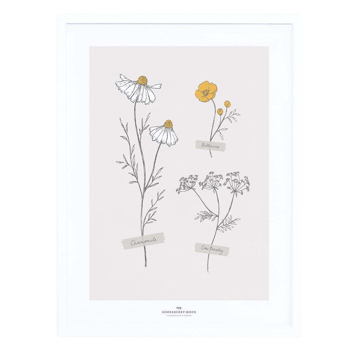 Cadre fleurs séchées en Papier Beige