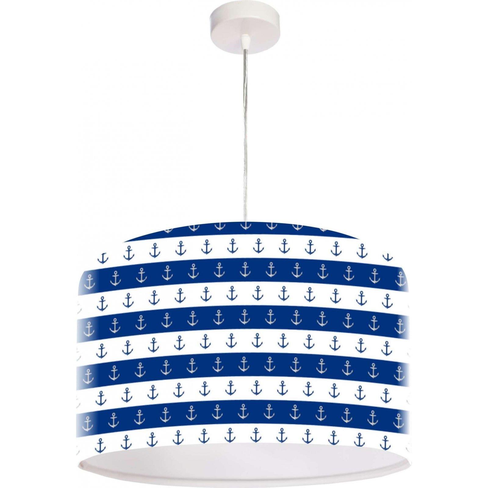 Suspension enfant abat-jour tissu bleu et blanc Ø 50