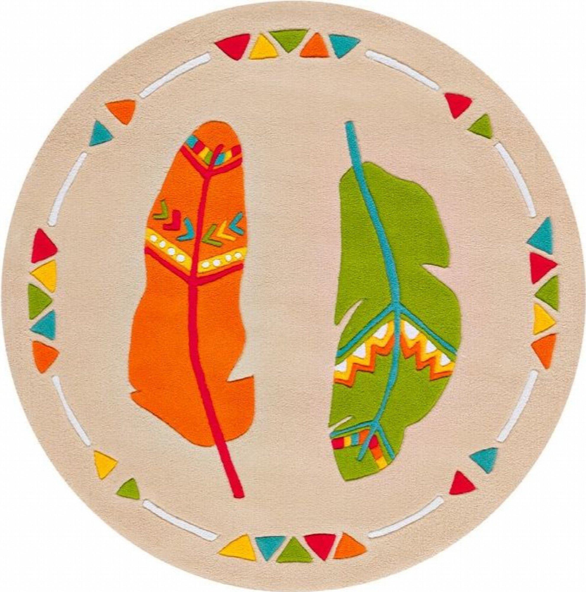 Tapis enfant multicolore rond poils courts acrylique ø 130