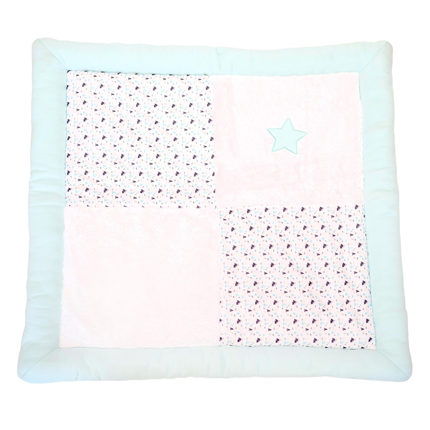 Tapis de parc bébé Blanc/Aqua 100x100 antidérapant