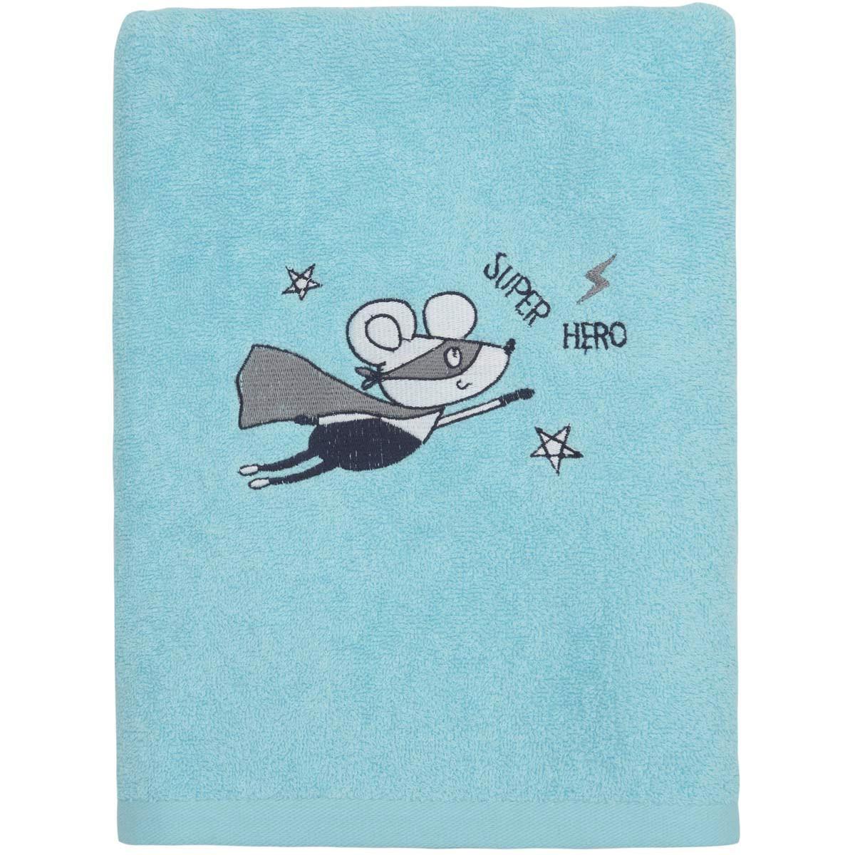 Drap de douche enfant coton turquoise 70x130