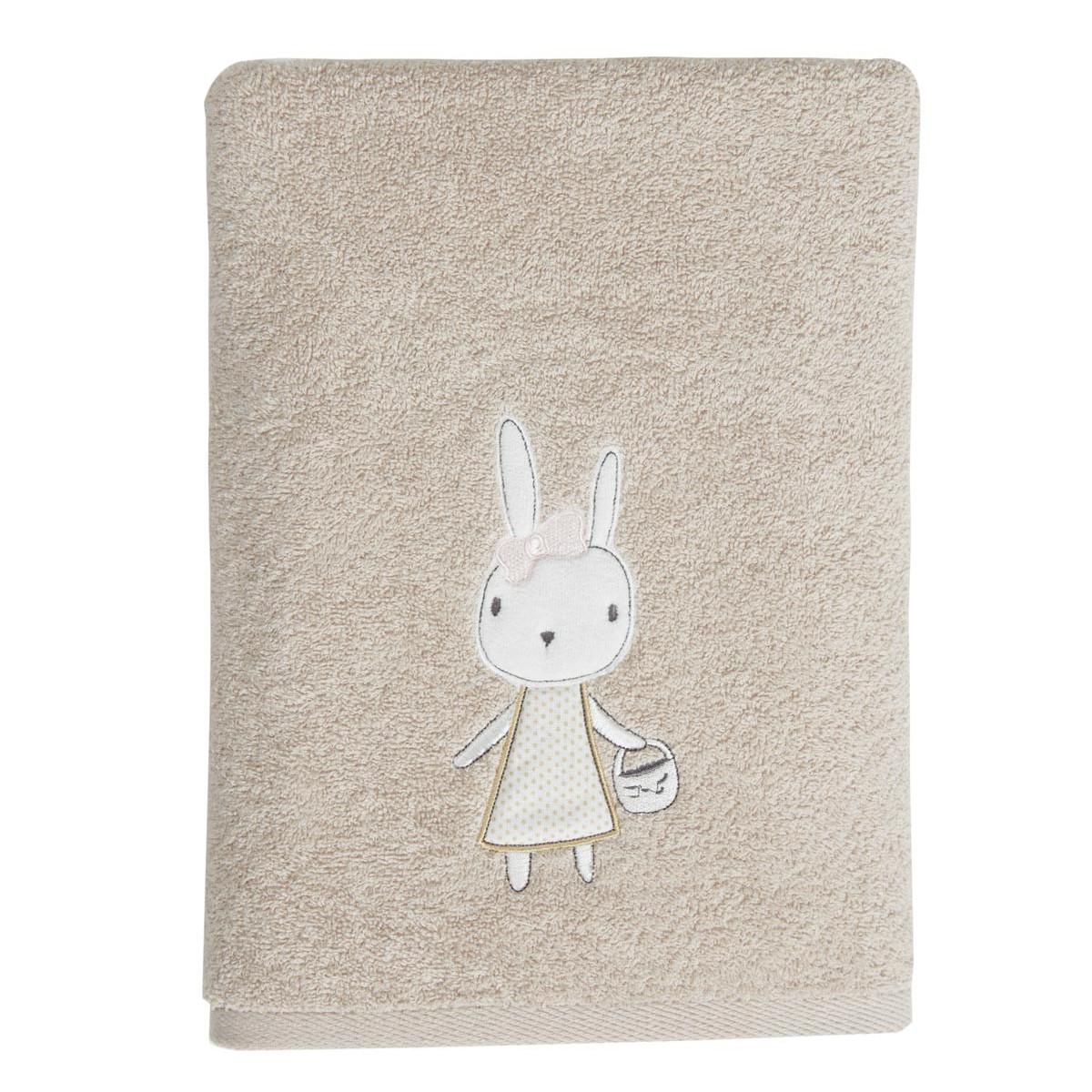 Drap de douche enfant  coton sable 70x130