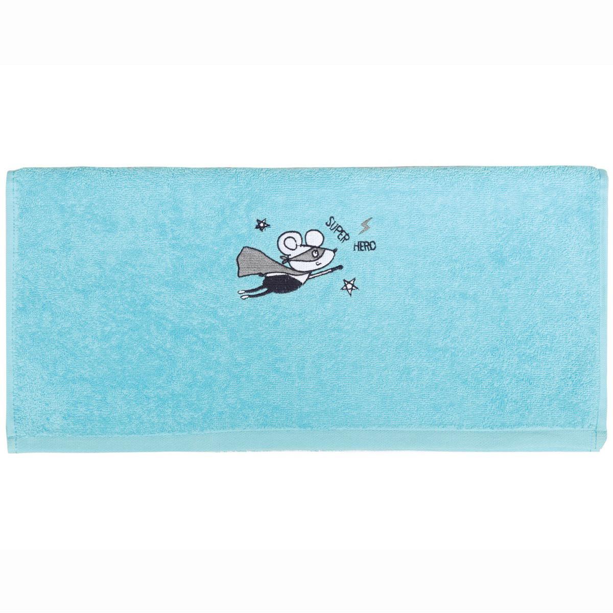 Serviette de toilette enfant coton turquoise 50x90