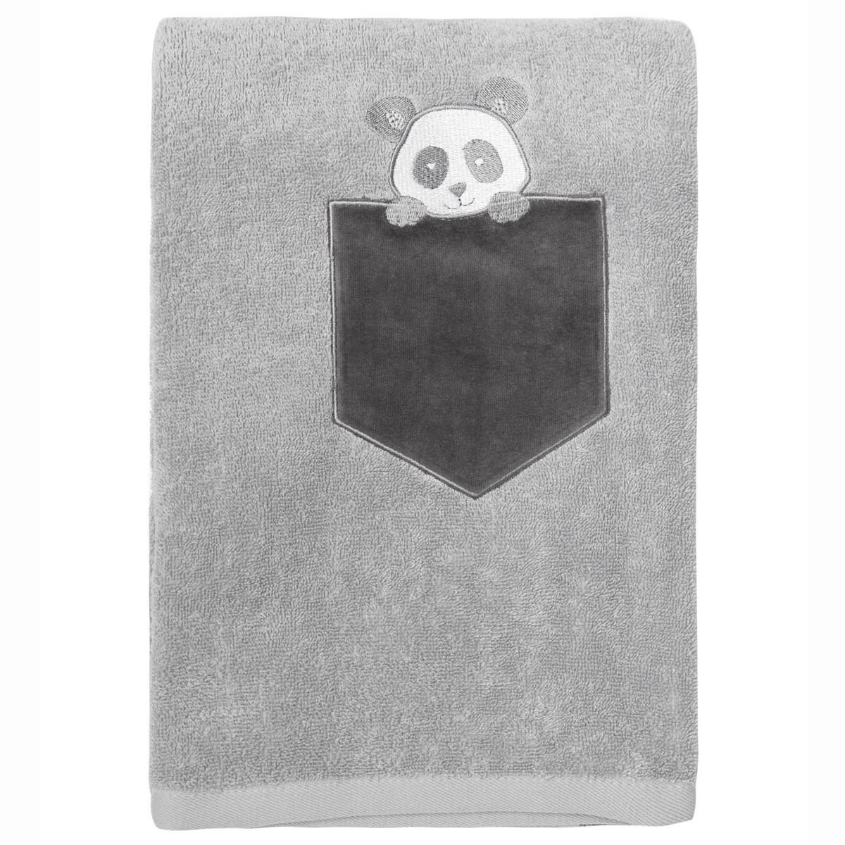 Drap de douche enfant coton gris perle 70x130