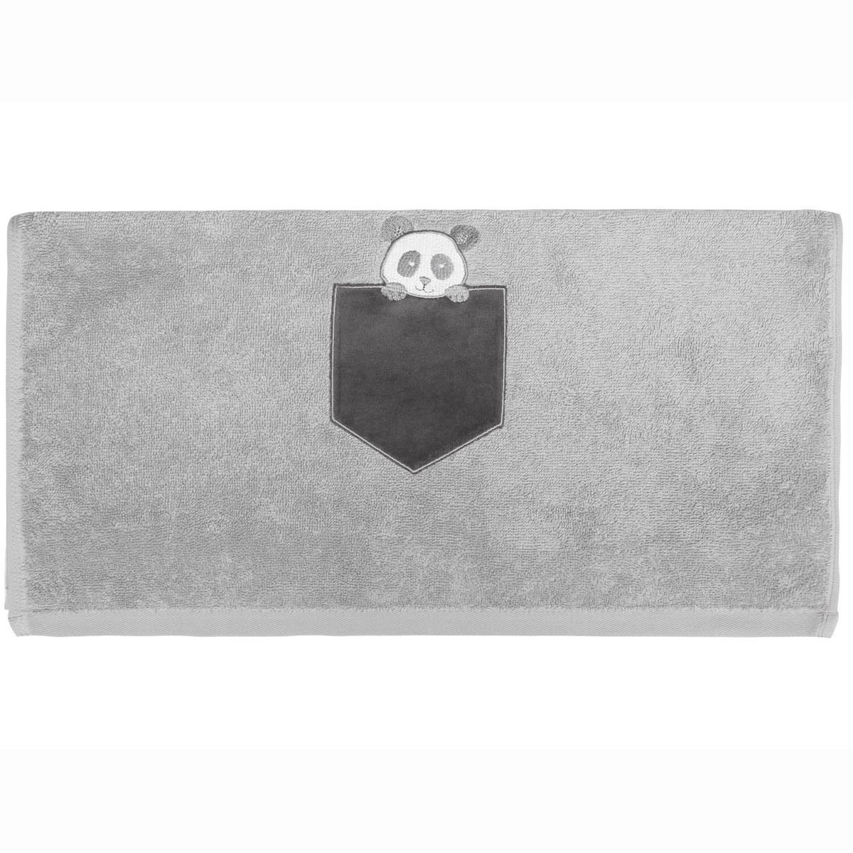 Serviette de toilette enfant coton gris perle 50x90