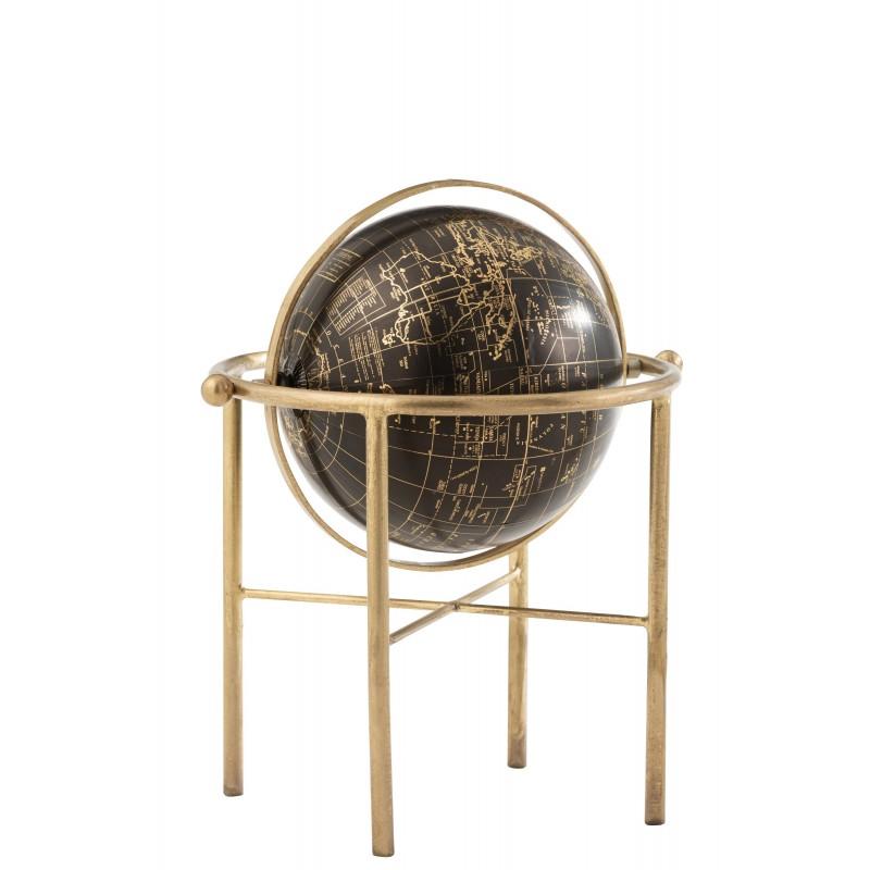 Globe vintage métal/plastique or/noir H36cm