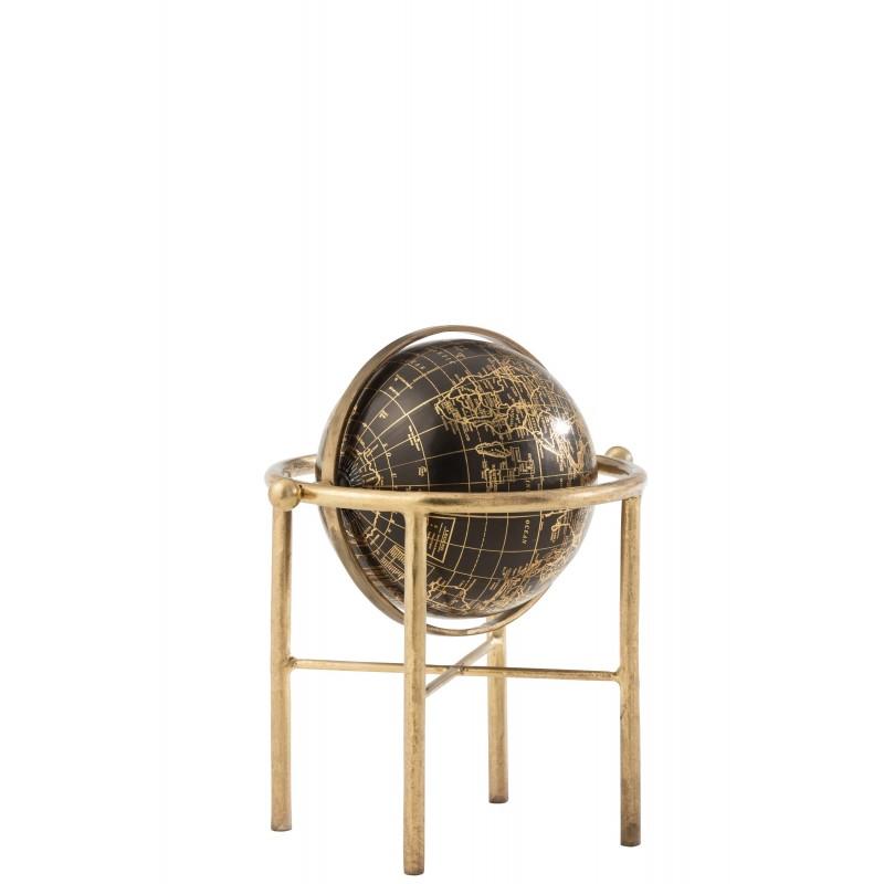 Globe vintage métal/plastique or/noir H30cm