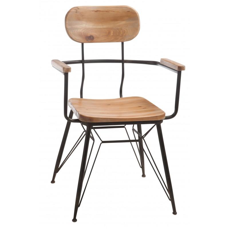 Chaise métal/bois naturel noire