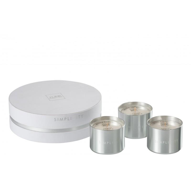 Boîte 3 bougies parfumées cire blanc/argent 18h