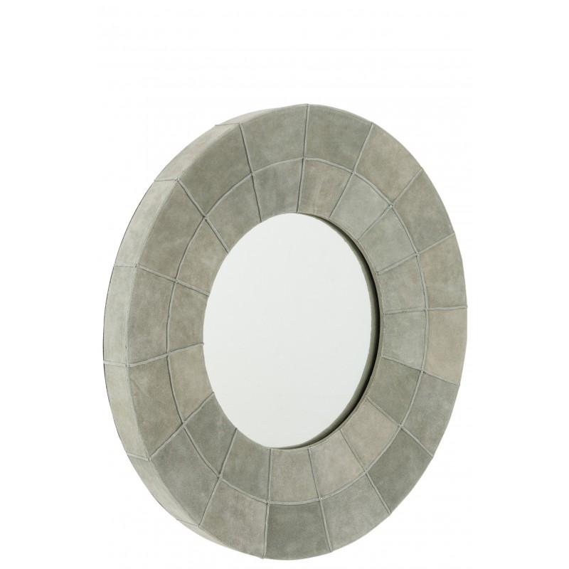 Miroir bord rond cuir vert D70