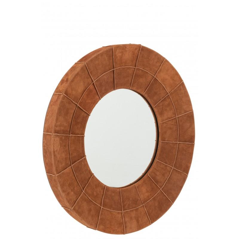 Miroir bord rond cuir cognac D70