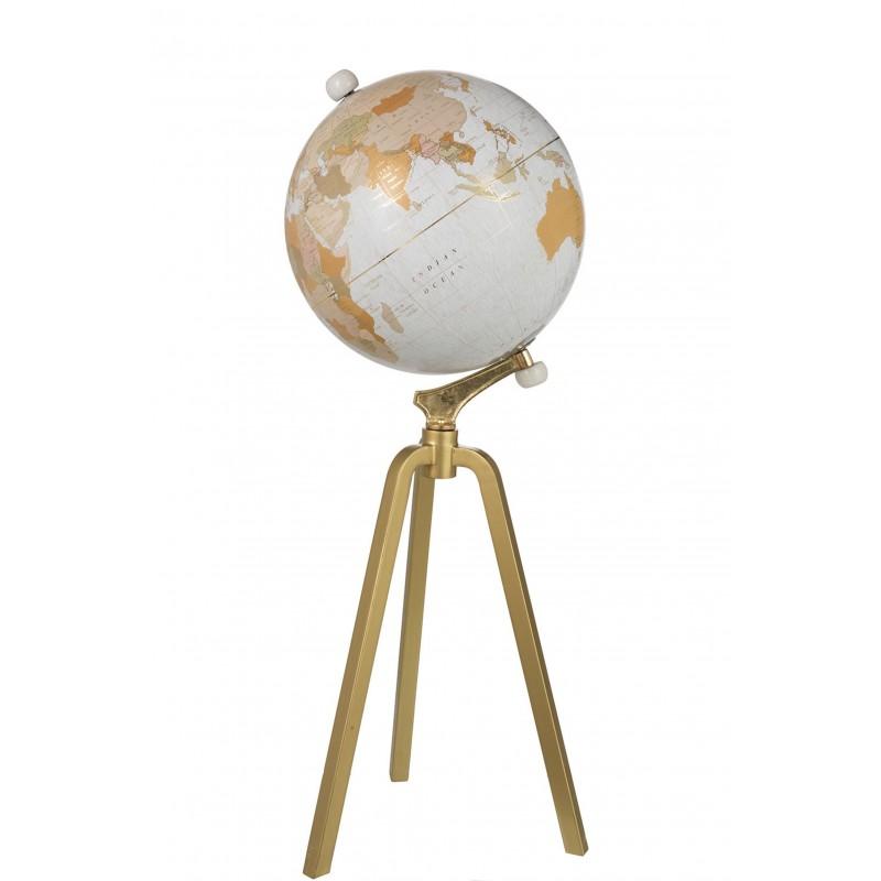Globe sur pied marbre blanc/métal or H100cm