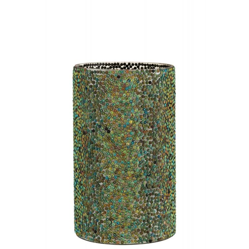 Photophore cylindrique verre bleu/vert H25,5cm
