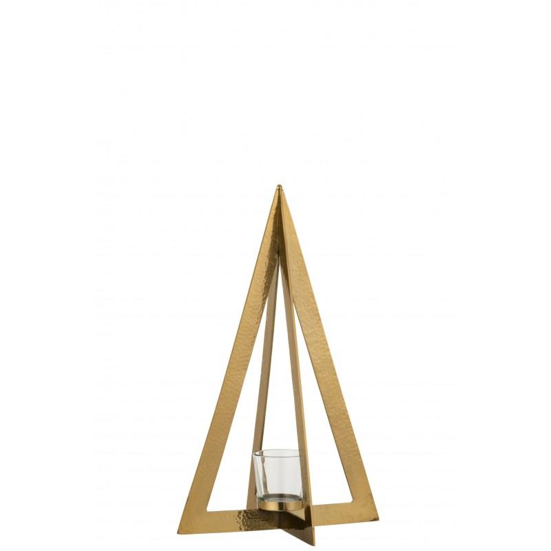 Photophore acier inoxydable verre or H40cm