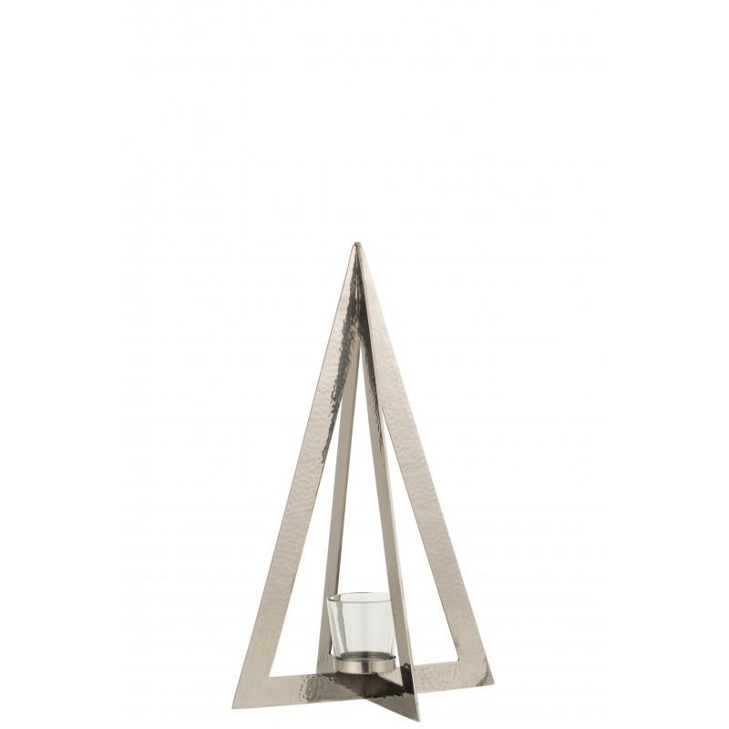Photophore acier inoxydable verre argent H40cm