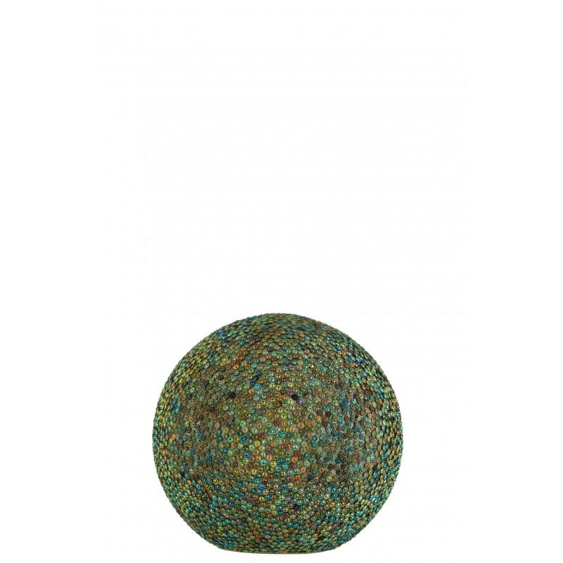 Boule led verre bleu/vert D20cm