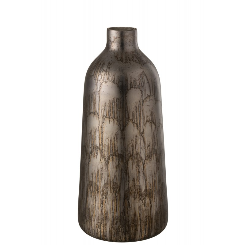 Vase haut rond verre gris/bleu H49cm