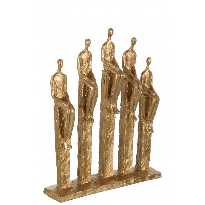 5 personnages sur pied résine or H39,3cm