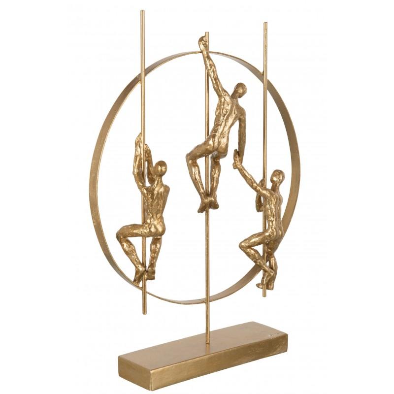 Personnage grimpant et cercle résine or H43,3cm