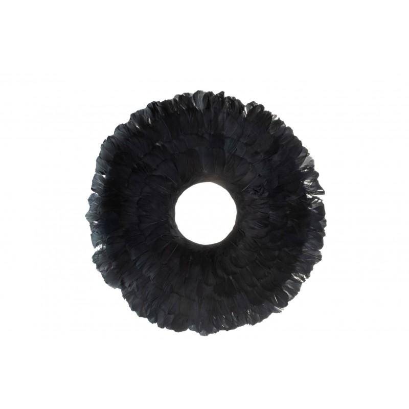 Couronne décorative plumes noires D52cm