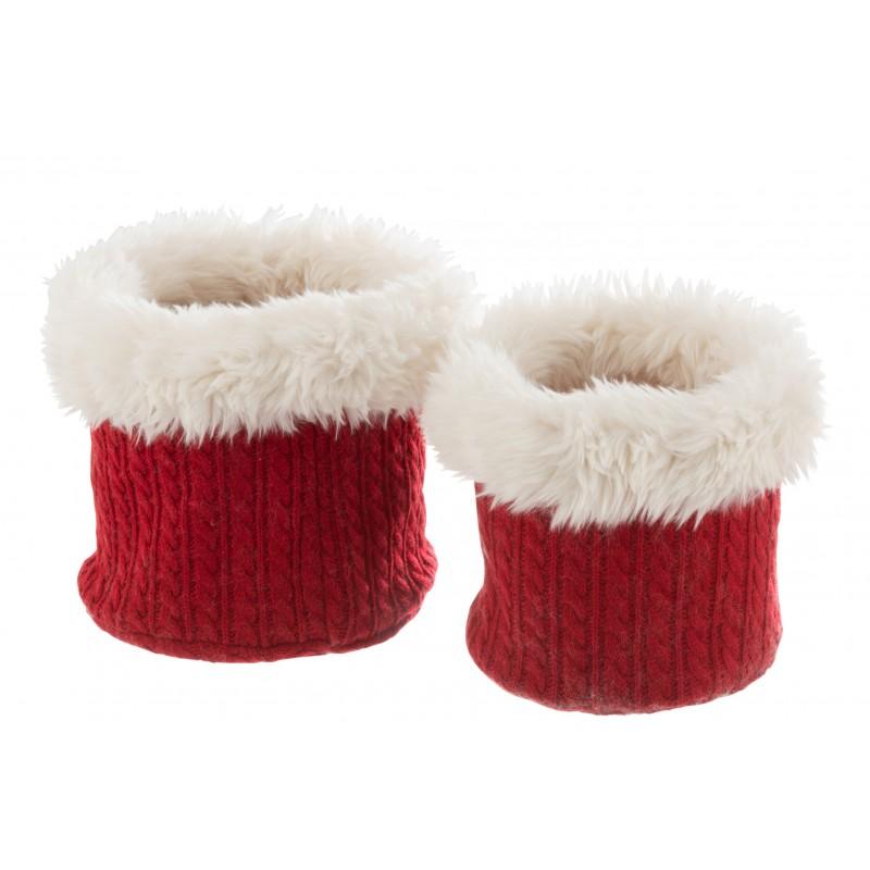 Set de 2 cache-pots peluche rouge/blanc H25,5cm
