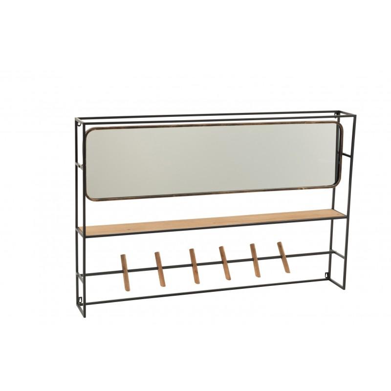 Étagère 1 planche et miroir métal/bois/verre noir L120cm