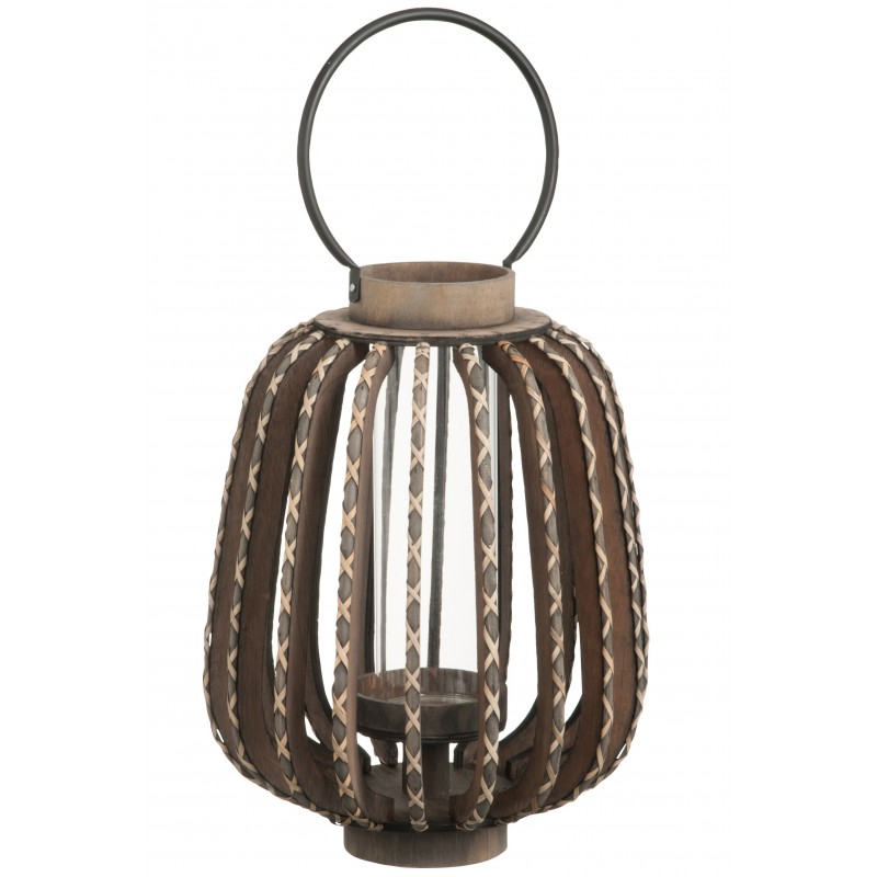 Bougeoir lanterne bois/verre noir H63cm