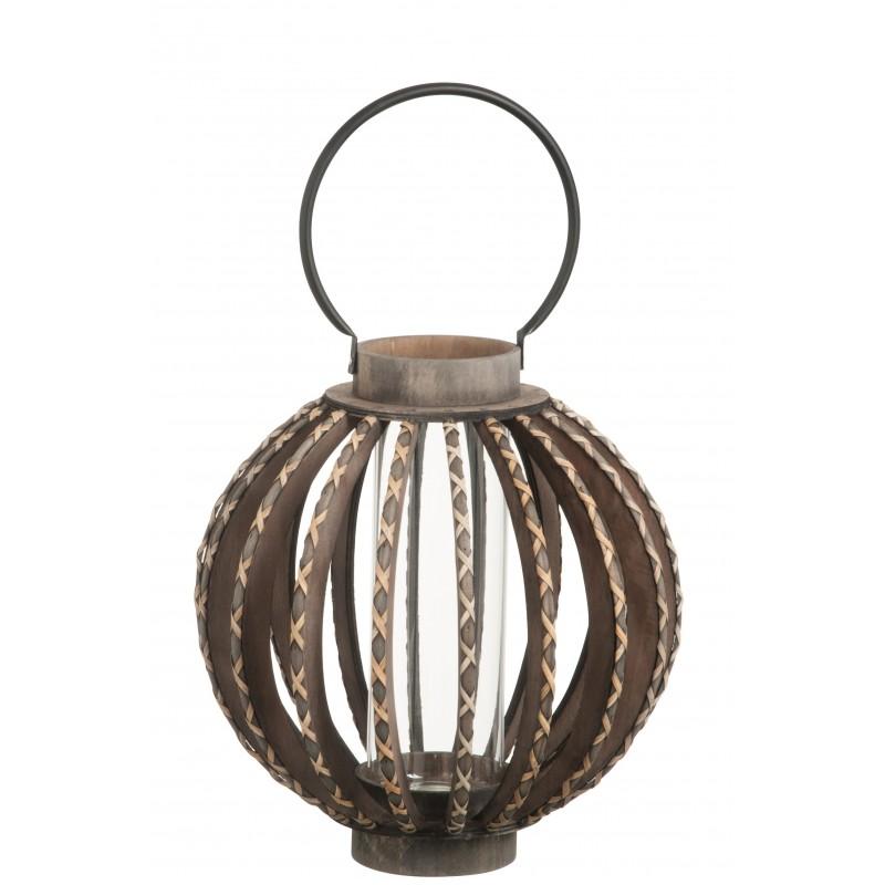 Bougeoir lanterne bois/verre noir H38,5cm
