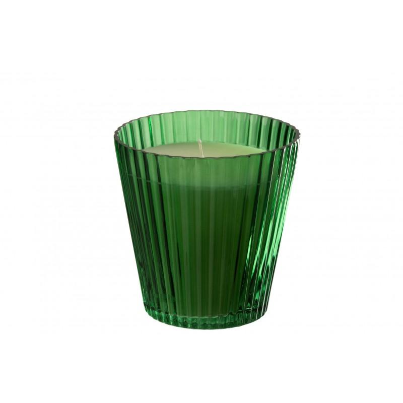 Bougie cannelures verre vert 120h