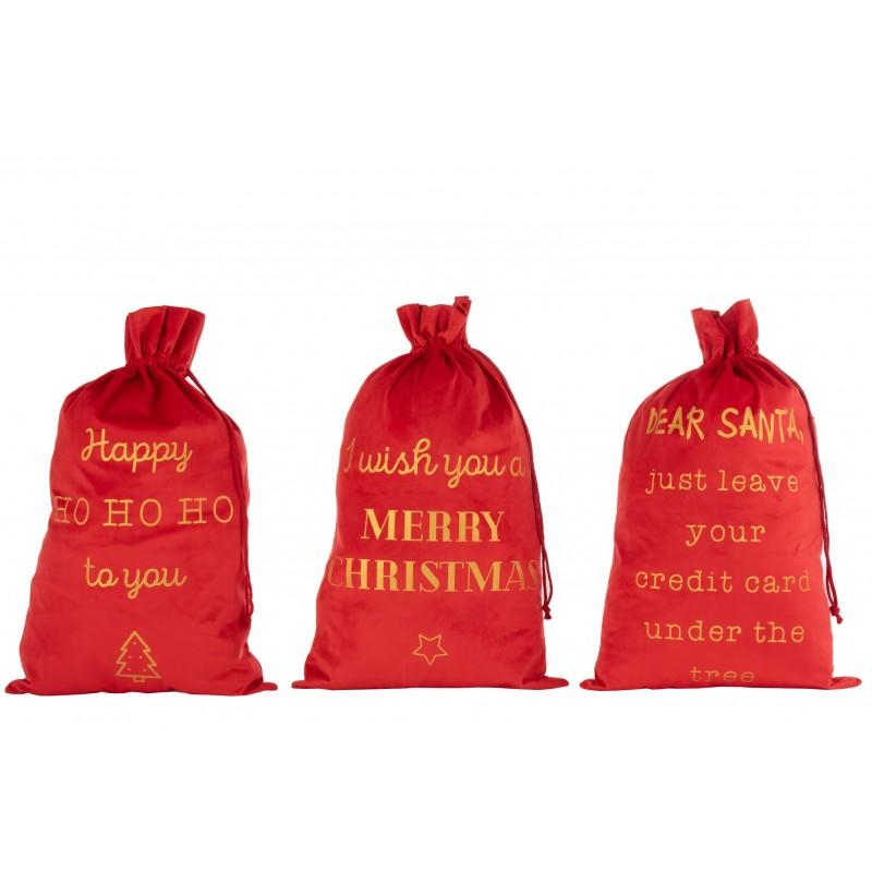Pochettes Noël anglais velours rouge 80cm - Lot de 3
