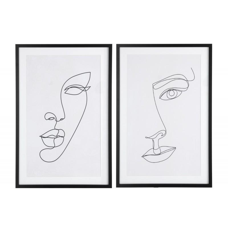 Cadres visages abstraits mdf/verre blanc/noir 60x90cm - Lot de 2